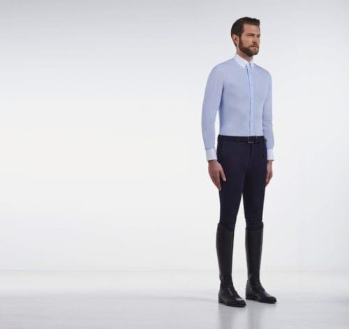 Camisa de concurso azul de manga larga para hombre modelo Guibert de Cavalleria Toscana