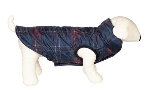 Abrigo para perro en tartán color burdeos modelo Potty de Equiline