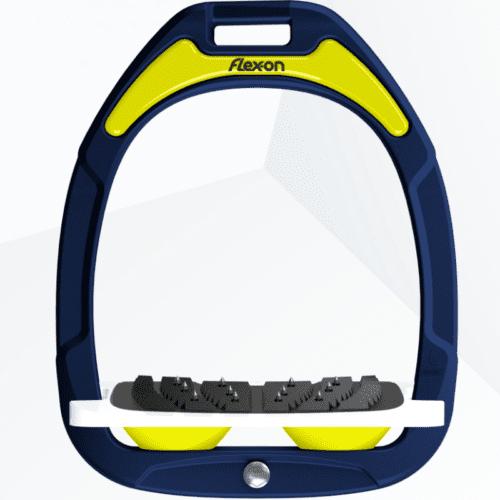 Estribos green composite junior inclinado ultra-grip azul marino con los amortiguadores en amarillo de Flex-on