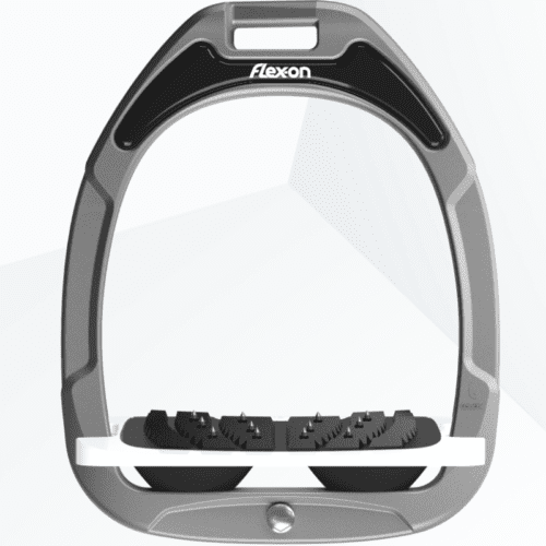 Estribos green composite junior inclinado ultra-grip gris aluminio con los amortiguadores en negro de Flex-on