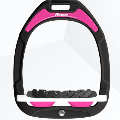 Estribos green composite junior inclinado ultra-grip negros con los amortiguadores en rosa de Flex-on