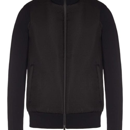 BOMBER WITH JACQUARD SLEEVES