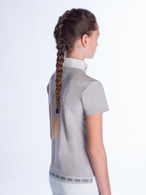 Polo de competición para niña gris modelo Jersey Compet de Cavalleria Toscana