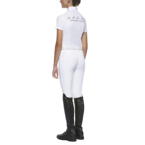 Polo de concurso blanco modelo H&R para niña de Cavalleria Toscana