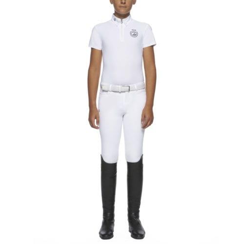 Polo de concurso blanco modelo H&R para niño de Cavalleria Toscana